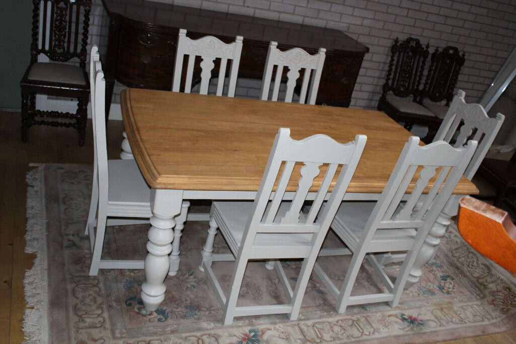 shabby chic 6ft oak plank top table and six chairs