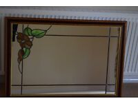 Custom made mirror with leaded panels and autumn leaf insert in green and brown