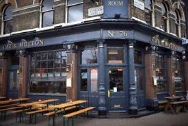 Kitchen Porter need for Hackney Gastro Pub. Around 30 hours per week.