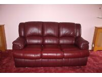 Burgundy Leather 3 seat Sofa Bed