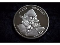 Silver Marry Christmas Happy Holidays Coin