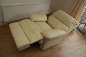 Cream Leather Restwell Electric Recliner Chair