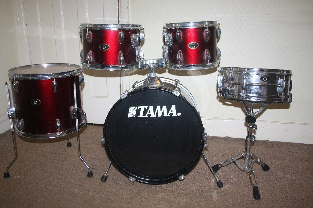 Tama Stagestar Wine Red 5 Piece Full Drum Kit 18 In Bass Stands