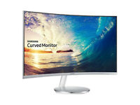 *USED ONCE* *FLAWLESS* 27 Inch Samsung Curved 1080p Monitor (White & Silver) (FREESync Technology)