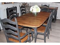 shabby chic solid french country dining table and 6 chairs