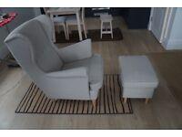IKEA STRANDMON beige wing chair and footstool