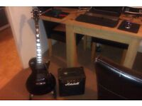 HOHNER BLACK LES PAUL ELECTRIC GUITAR & MARSHALL 40 WATT AMP IN SUPERB CONDITION