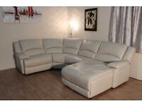 Ex-display Ronson bisque standard leather corner sofa