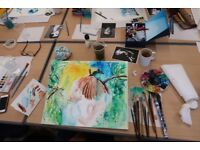 Painting in watercolour class