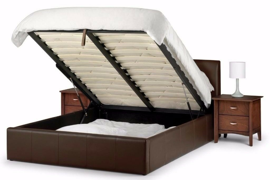 Limited Offer Double Leather Storage Bed Frame With Ottoman Gas Lift Up Choice Of