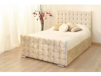 == CHOICE OF COLORS == GOOD QUALITY CHESTERFIELD CRUSHED VELVET BED FRAME IN DOUBLE SIZE