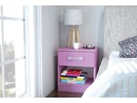 Reflect high gloss one drawer bedside cabinet