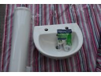 New 45cm 450mm 2TH Naples Basin Sink (for bathroom or cloakroom), Fixing Kit and Plug fittings