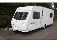 Lunar Quasar 534 2009 4 Berth Fixed Bed Caravan + Motor Movers + Full Awning