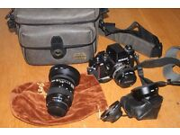 Nikon F3HP camera with 2 lenses etc