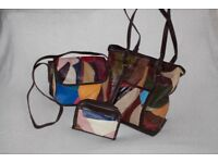 Women a set of 3 bags messenger shoulder purse colourful matt genuine leather