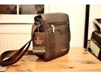 Brown Messenger Bag Sidebag Leather BNWT Lots of pockets unisex mens women
