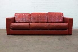 SUPERB RARE VINTAGE RETRO 1970's GIMSON & SLATER PATCHWORK LEATHER 3 SEATER SOFA - FREE DELIVERY