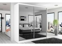 ALL COLOURS & SIZES IN STOCK NOW-- Berlin Full Mirror 2 Door Sliding Wardrobe with Shelves and rails