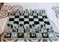 Shot glass chess set. Great quality with different glasses for each piece