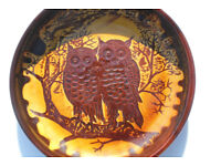 Unusual Vintage Hand Decorated Owl Display Plate Owls in Wood Glazed Art Pottery Studio Art Pottery