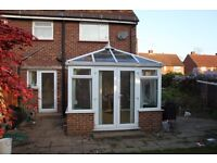 Used white PVC conservatory, being sold due to extension. Disassembled and ready for collection.