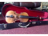 violin hand made,french 200 year old,beautiful tone coffin case.
