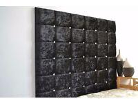 RYLEYS Luxury Crushed Velvet Divan Bed & Extra high big Diamante Headboard SILVER/BLACK /DARK GREY