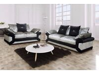 BLACK AND SILVER FINISH BRAND NEW DINO CRUSHED VELVET CORNER OR 3 AND 2 SEATER SOFA AT CHEAP PRICE