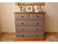Restyled superb quality painted solid wood chest of drawers.