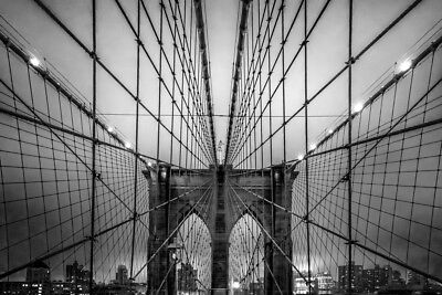 Brooklyn Bridge Manhattan Skyline at Dusk Under Cloud of Fog Photo Art Print -