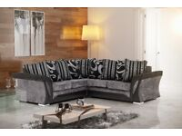 SAME DAY CASH ON DELIVERY-- NEW SHANNON CORNER or 3+2 SOFA IN LEATHER & FABRIC, in BLACK or BROWN