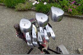 Golf clubs, Driver + 3 & 5 woods, 3,4,5,6,7,8.9.Sand & Pitch wedges + Brass putter.