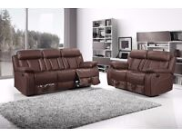 BRAND NEW 3 +2 OR CORNER RECLINER BONDED LEATHER CUP HOLDER SOFA SET ON SALE NOW ,SAME DAY DELIVERY