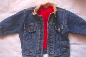 Denim Jacket with red quilting and corduroy collar 2 years