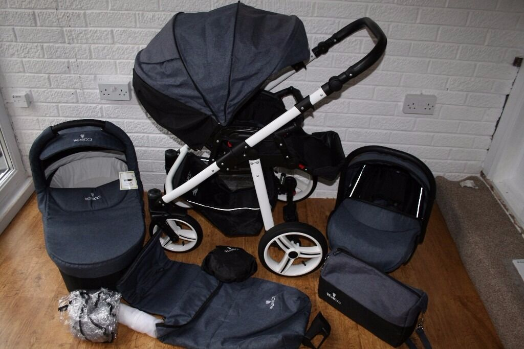 Venicci pram travel system 3 in 1 with car seat - denim blue CAN POST