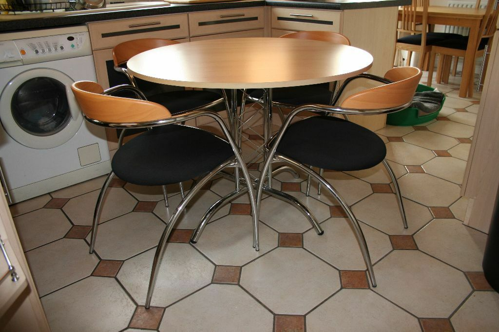 Effezeta Italian Designer Circular Chrome And Wood Table Four Chairs
