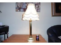LARGE SOLID BRASS CORINTHIAN COLUMN TABLE LAMP WITH VINTAGE SILK SHADE