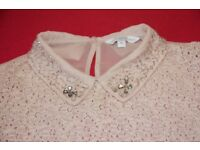 new look size 10 women's baby pink top embellished collar