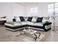 BEST SELLING BRAND - BRAND NEW CRUSHED VELVET DINO LEFT AND RIGHT CORNER SOFA OR 3+2 SEATER SOFA SET