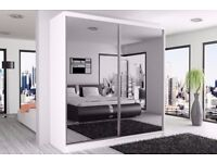 **amazing sale on **BRAND NEW - BERLIN 2 DOOR SLIDING WARDROBE WITH FULL MIRROR -EXPRESS DELIVERY