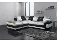 Cheapest Price Offered! New Dino Crush Velvet Corner or 3 and 2 sofa set in Black and silver mix