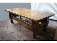 Coffee table, solid oak, 131x60x43cm, sturdy construction, optional glass top, 1970s