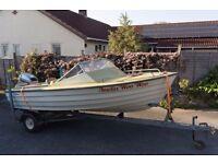 Bonwitco (With) Vitsi Motorboat/Speedboat - rare 70's - upgraded - inc. trailer/40hp mariner