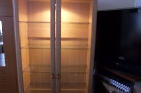 glass cubard with light a shelves