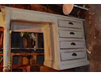 Old Pine painted knee hole desk
