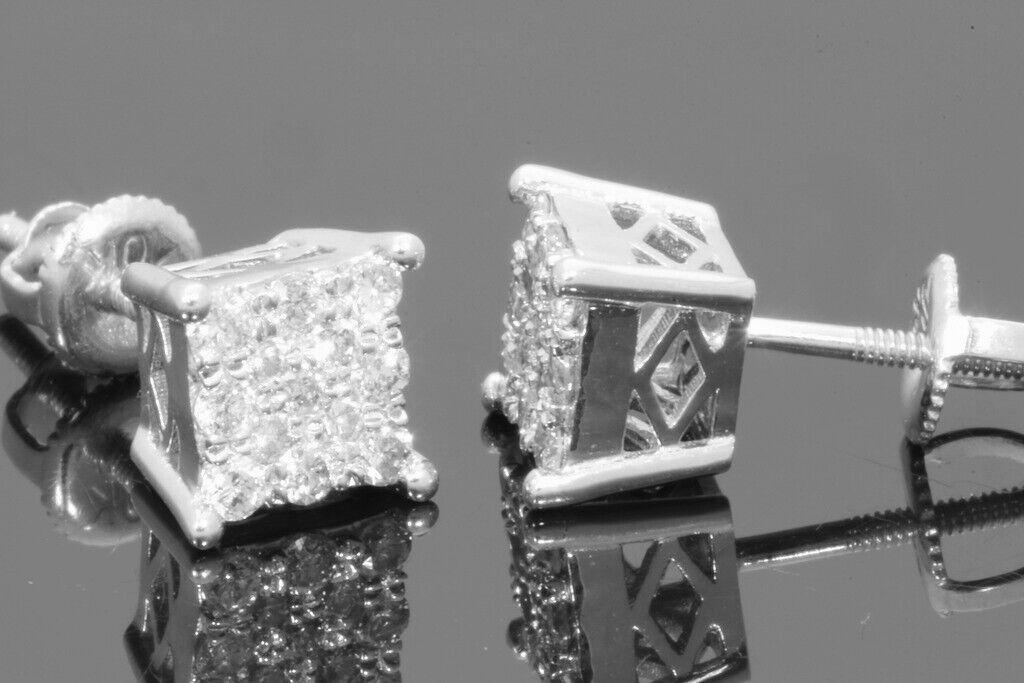 10K WHITE GOLD .32 CARAT MENS/WOMENS 5mm 100% GENUINE DIAMONDS EARRING STUDS