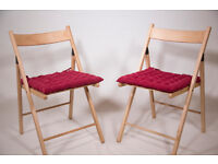 2 Foldable Wooden Chairs with red cushion