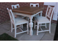 Antique extending dining table and 4 chairs, shabby chic style