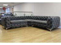 Fabric Grey Chesterfield corner Sofa   Rocky